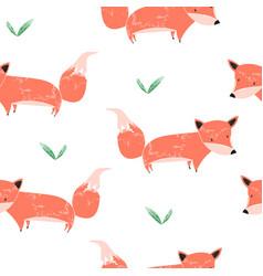 watercolor fox seamless pattern vector image
