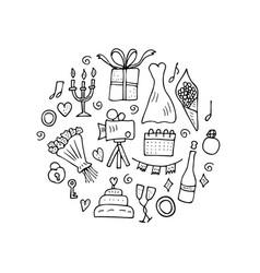 wedding symbols set design vector image
