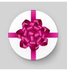 White Round Gift Box with Pink Bow and Ribbon vector
