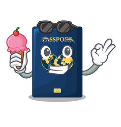 With ice cream blue passport above character vector