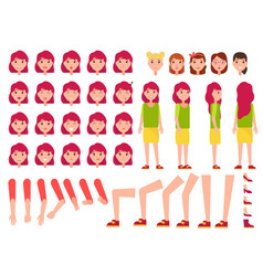 woman constructor set of female faces body parts vector image