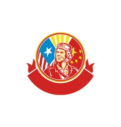 World War 2 Pilot USA China Flag Circle Retro vector