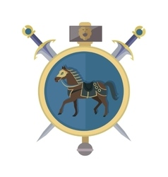 Brown horse in gold circle isolated avatar icon vector