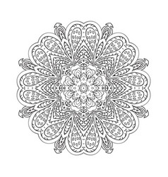 mandala doodle drawing floral round ornament vector image