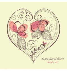 retro floral heart vector image vector image