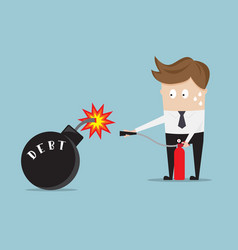 businessman use fire extinguisher for stop debt vector image vector image