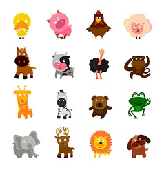cartoon cute animal set vector image
