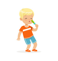 cute blonde little boy character eating ice cream vector image vector image
