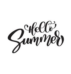 hello summer hand drawn lettering handwritten vector image vector image