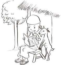 muslim boy reading with a goat - sketch drawing vector image vector image