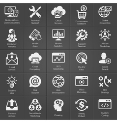 SEO and Development icon set on black vector image vector image
