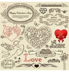 Valentine design elements vector image
