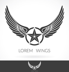 Wing abstract Logo template with star in the vector image