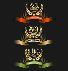 anniversary golden logo set vector image