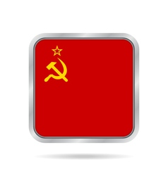 Flag of Soviet Union Metallic gray square button vector image