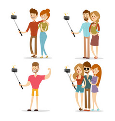 selfie people isolated vector image vector image