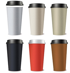 Set of paper cups isolated on a white background vector image vector image