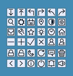 Slim thin icon button vector