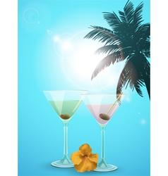 summer cocktail blue background portrait vector image vector image