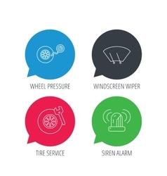 Wheel pressure tire service and siren alarm vector