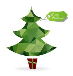 Abstract Christmas tree symbol made of triangles vector image