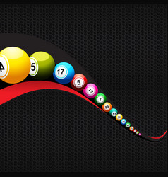 bingo lottery balls over abstract wave on black vector image