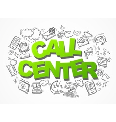 Call center sketch icons composition vector image vector image
