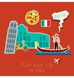 Concept of travel or studying Italian vector image vector image
