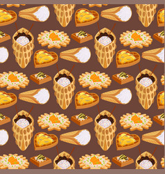 Wafer cookies seamless pattern background waffle vector