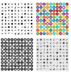 100 funny icons set variant vector image