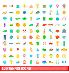 100 tennis icons set cartoon style vector