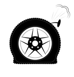 A flat tire or a punctured tire logo or emblem vector