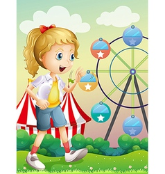 A girl walking across the carnival vector image
