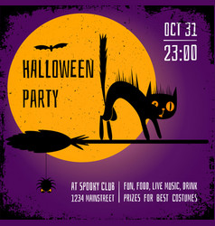 a halloween party square banner with a black cat vector image