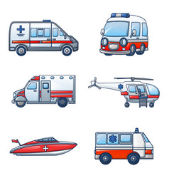 ambulance transport icons set cartoon style vector image