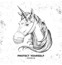 Animal unicorn wearing face medical mask covid-19 vector