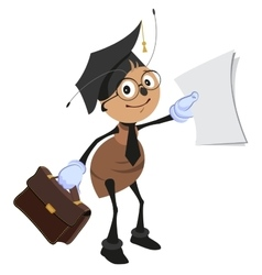 Ant teacher holding briefcase and clean sheet vector image