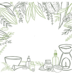 Aromatherapy aroma lamp and essential oils vector