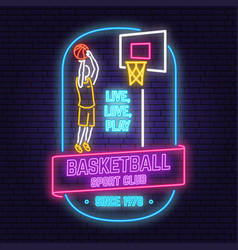 basketball club neon design concept for vector image