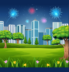 beautiful garden with cityscape building and firew vector image