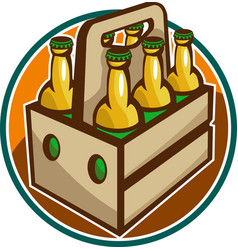 Beer Bottle 6 Pack Retro vector