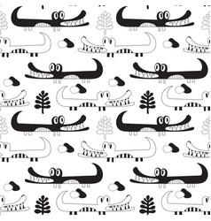 Black and white crocodiles pattern vector