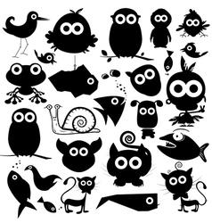 Black Animals Silhouette Set vector image