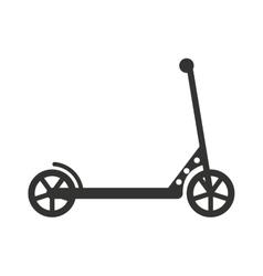 Black push kick scooter fun activity vector