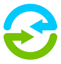 Blue and green circular arrow symbol icon vector