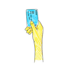 blue credit card in a female hand sketch hand vector image