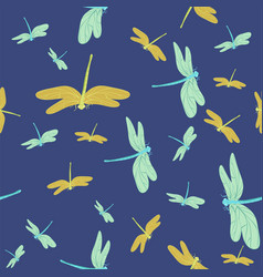 blue seamless texture with dragonflies pattern vector image
