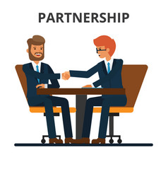 business partnership businessmen handshake vector image