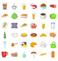cafe dish icons set cartoon style vector image