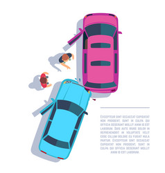car traffic accident crashed cars and people on vector image